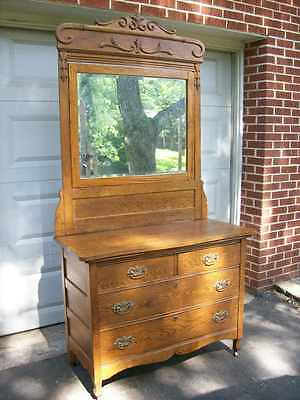 Dresser Antique Oak 2 Over 2  With Beveled  Mirror