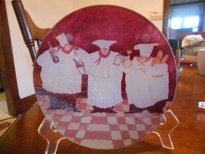 """Fat Chef Trivet Hot Pad 8"""" Round Textured Tempered Glass White Brown Red !"""