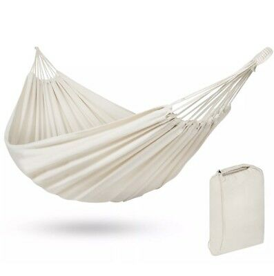 NEW Portable Cotton Double Hammock Bed 2 Person Patio Camping W/ Carrying Bag