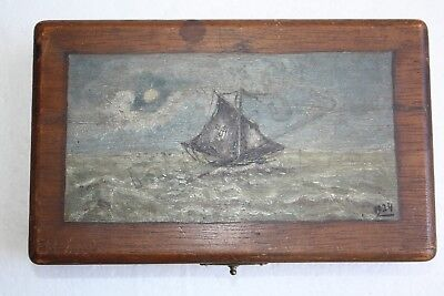 Old Antique Pick Me Up Wooden Box Hand Painted Oil on Wood Signed 1924 Rarest