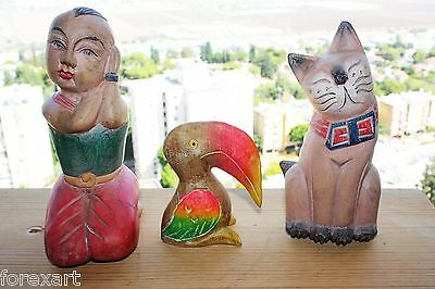 Lot of 3 Vintage Wood Carved Figurines Boy Cat and Toucan Bird Multi Coloured