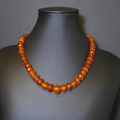 Vtg Baltic Faceted Amber Graduated Bead Necklace Antique Deco 835 Silver Topaz