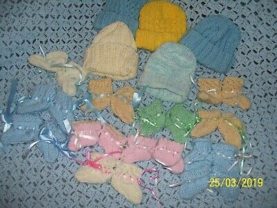 Reborn Doll Clothes.  12- Pairs Of Booties, & 5- Hats.  Prem/Size.  All New!.