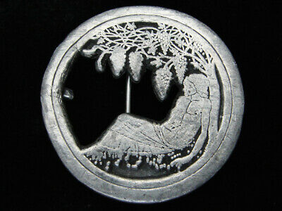 QF11124 VINTAGE 1970s **AUBREY BEARDSLEY ART** PEWTER INDIANA METAL CRAFT BUCKLE