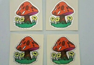 3D Foil Lot 80's 90s prism Stickers Mushrooms Shrooms Groovy x4 Retro VTG