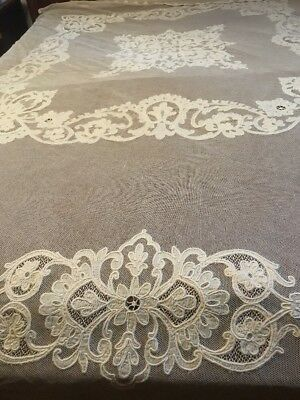 FAB! 1910s Edwardian Applique on Cotton Net French Floral Bedspread Coverlet