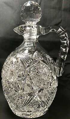 "Antique Abp Super Heavy J. Hoare Cut Glass 10"" Whiskey Demijohn Decanter Jug"