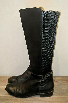 6d42c14bd6f COLE HAAN WOMEN'S Rockland W00210 Black Leather High Riding Boots Stretch  10.5 B