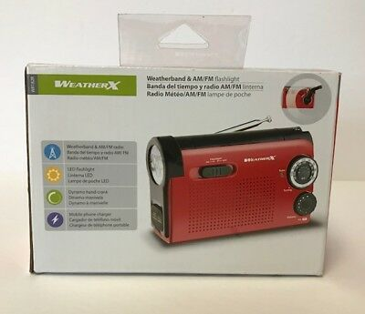 Weather X WR182R NOAA Weather Band and AM/FM Radio Flashlight Dynamo Handcrank