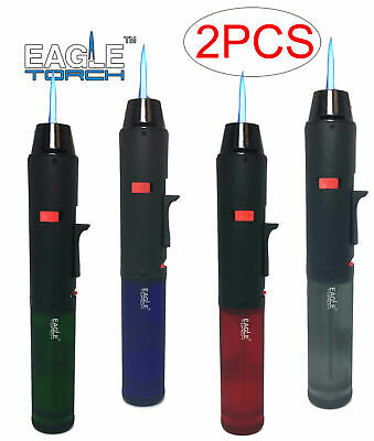 2 Pack Eagle Torch Pen Refillable Butane Lighters with Semi Transparent Tank
