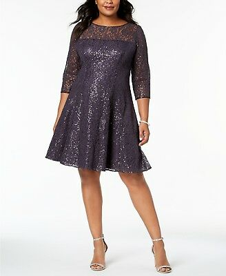 58d25a5f SL Fashions Plus Size Sequined Lace Fit & Flare Dress $129 Size 16W 1A 430  NEW