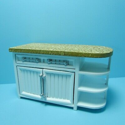 Dollhouse Miniature Beautiful White Kitchen Island with Cabinet & Shelves T5535