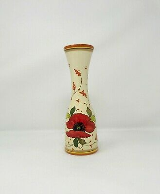 Vintage Italian Pottery Wine Carafe or Vase with a Hand Painted Floral Decor