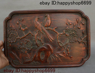 Old China Yellow Huali Wood Flower Bird Totems Pattern Tray Salver Saucer Statue