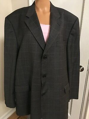 Mens Burberry London Blazer Jacket Gray 100%Wool Size 50 Worn Once