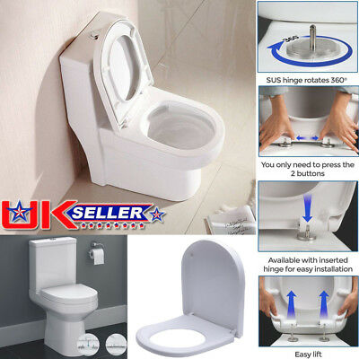 Luxury Toilet Seat Soft Close Square D Shape Top Quick Release Hinge Easy Clean