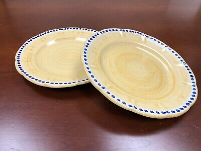 Pair of SOLIMENE VIETRI ITALY Hand-Painted Dinner Plates Yellow Blue Dots EUC