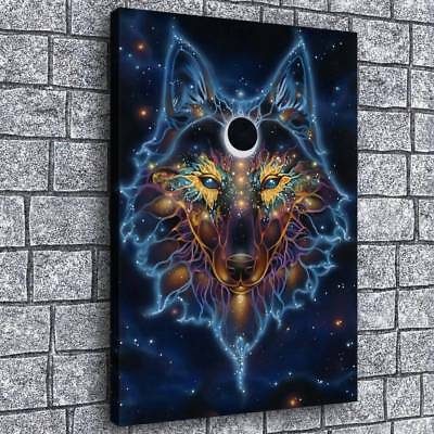 "Fantasy Black Hole Wolf Painting HD Print on Canvas Home Decor Wall Art 16""x24"""
