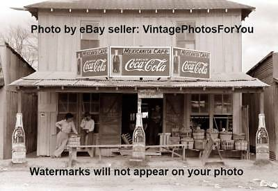 Old 1939 Texas Mexicanita Cafe Grocery General Store Coca Royal Crown Cola Photo