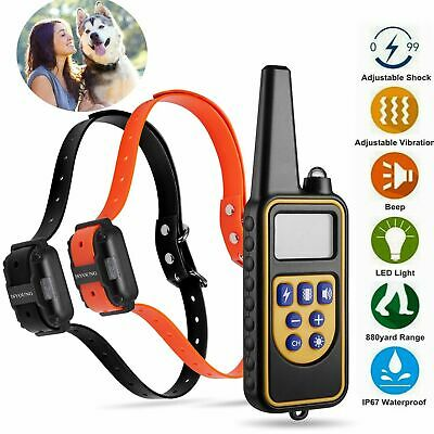 880 Yard Dog Shock Training Collar Rechargeable Remote Waterproof Pet Trainer