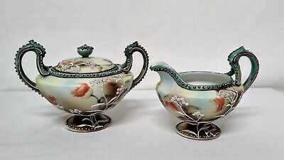 Japanese Moriage Footed Creamer and Sugar Bowl - Vintage