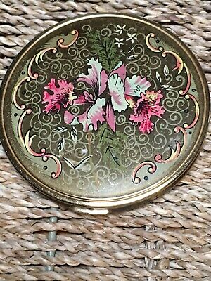 Vintage Melissa  Gold Compact.with Pink Floral Pattern Made In England