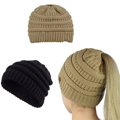 Women Girls Ponytail Beanie Winter Stretch Cable Knit Crochet High Bun Hat EU