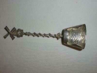 Sterling Silver serving scoop collector spoon hand hammered crafted w/windmill