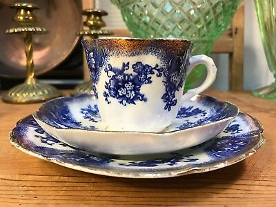 Lovely Antique English May Porcelain Cobalt & White Tea Cup Plate Saucer Trio