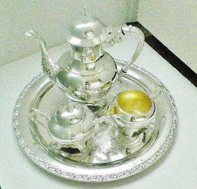 Ancestral by 1847 WM A Rogers, Silverplate 4-PC Coffee Service w/ Wound Tray,