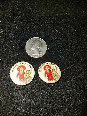 2 RARE VERSION Vintage 1910'S Buster Brown Shoes Advertising Pins