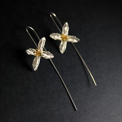 GENUINE Sterling Silver Hand Crafted Flower Front to Back Fine Earring UK New