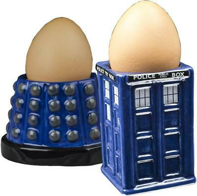 Doctor Who - Dalek And Tardis Ceramic Egg Cup Set  Brand New In Box!