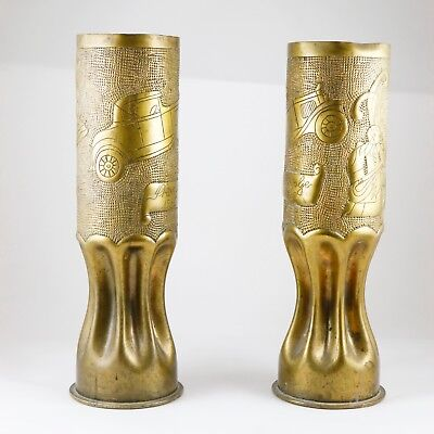 Antique Vintage Trench Art Pair Of Vases 1932 Signed