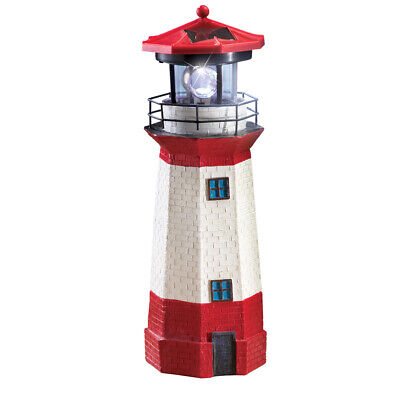 Solar Nautical Lighthouse Statue, Red, by Collections Etc