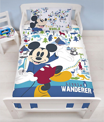 Disney Mickey Mouse Wanderer - Junior Toddler or Cot Duvet Cover Bed Bedding Set