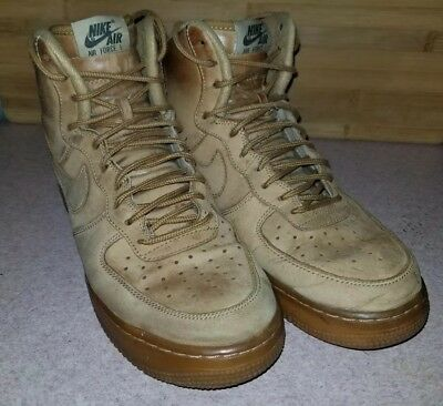 new product 95858 6482d NIKE AIR FORCE 1 HIGH  07 LV8 Size 8.5 FLAX WHEAT 806403-200