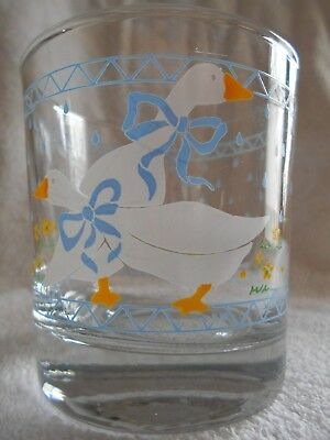 Farm Country Goose Double Old Fashioned Glasses 8 oz Anchor Hocking White Blue !
