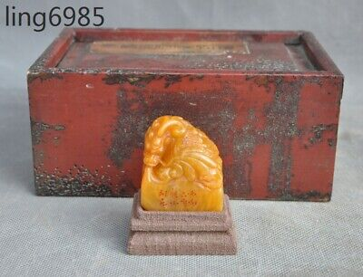 China Tianhuang Shoushan Stone Hand-Carved Loong Dragon Statue Seal Stamp Signet