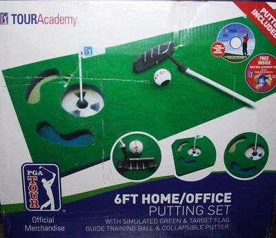 PGA TOUR 6ft Golf Putting Set Practice Mat Inc Putter & Guide Ball With Putter