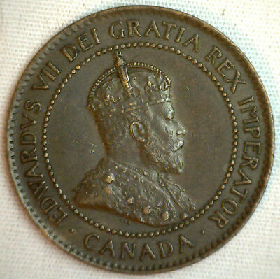 1903 Copper Canadian Large Cent Coin 1-Cent Canada XF #21