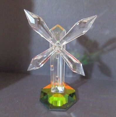 "Vintage Mobex Faceted Crystal Large Windmill Rainbow Mirror Base 5"" Beautiful"