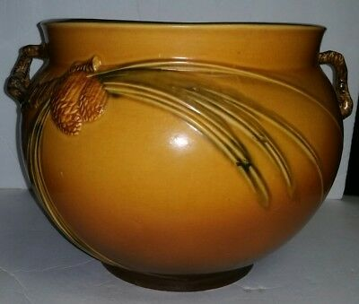 """Roseville Pottery Pinecone Pine Cone Jardiniere Brown Large appox. 13"""" Diameter"""