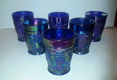 Six Vintage Cobalt Blue Art Glass Signed Joe St.clair Tumbler Cup Grape Pattern