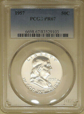 1957 PCGS PR-67 Franklin half dollar proof superb GEM 90% silver blast white