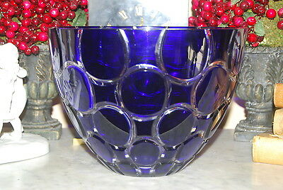 Ajka Hungarian Cobalt Blue Cased Lead Crystal Large Hand Cut Blown Lulu Bowl