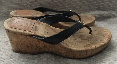 37c76f00de4e TORY BURCH ASHTON Patent Leather Cork Wedge Sandal Shoes Womens Size ...
