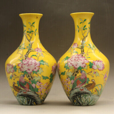 Pair of Beautiful Chinese Antique Yellow Famille Rose Enamel Porcelain Vases