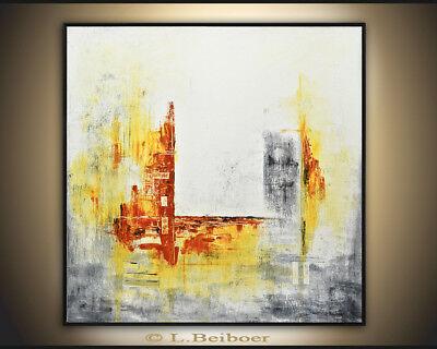 ORIGINAL MODERN FINE ART YELLOW WHITE ABSTRACT CONTEMPORARY PAINTING L. Beiboer