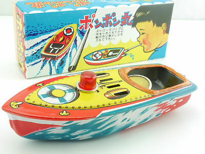 Altes Japan Kerzen-Boot Boat Blechschiff Knatterboot TOP MIB OVP SG 1604-26-90